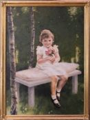 Carl Heiss, Mädchen mit Blumen, Öl auf Leinwand.Holzrahmen beschädig, Leinwand weist kleine