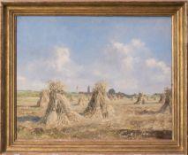 Josef Burger, Heuernte, Öl auf Leinwand.Holzrahmen beschädigt, siehe Fotos.118 x 97 cm m.R.100 x