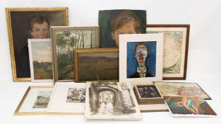 Umfangreiches Bilderkonvolut.Graphik, Drucke und Öl auf Leinwand.20 - 52 cm.