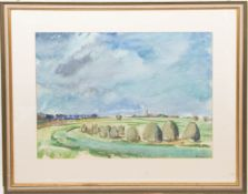 Werner Oberle, Weite Landschaft, Aquarell auf Papier, 20. Jh.Unten rechts signiert, im
