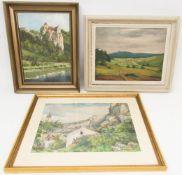 Konvolut von 3 Landschaften, Acryl und Aquarell, 20. Jh.1. Signiert Stöcklein 44, Aquarell auf