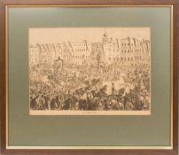 Hans Katzler, Der Feldzug in Ried, Kupferstich, 19. Jh.Hans Katzler (1881 - 1952).Hinter Glas im