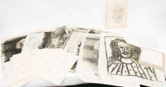 Grafikmappe, Reinhard Lentz, 20. Jh.Mappe mit zahlreichen Zeichnungen und kleineren Werken von
