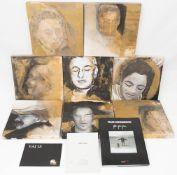 Frank Breidenbruch, Serie von 8 Portraits, Mischtechnik/Collage auf Holz, Deutschland/ Italien 20.
