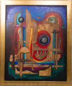 Reinhard Normann, Holzbild in Farbe, Deutschland 2001.Massives Holzbild im prachtvollem Holzrahmen
