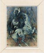 Denes de Holesch, Zwei Pferde in blau, Öl auf Platte, 20. Jh.Denes de Holesch (1910 - 1983).Unten