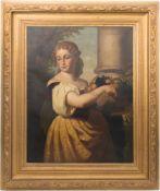 Frauenportait mit Früchten, Öl auf Leinwand, 17. Jh.Schönes, fein gemaltes Portrait einer Dame in