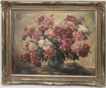 Philip Kappel, Blumenstillleben, Öl auf Leinwand, 20. Jh.Philip Kappel (1901 - 1981).Gerahmt im