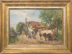 Paul Burmeister, Beim Hufschmied, Öl auf Leinwand.