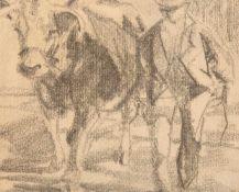 Willy Zügel, Bauer mit Kuh, Blei auf Papier, Deutschland 20. Jh.Willy Zügel (1876 - 1950).