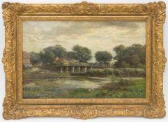Carl Rodeck, Wasserlandschaft mit Brücke und Häusern, Öl auf Leinwand 1871.Carl Rodeck (1841 -