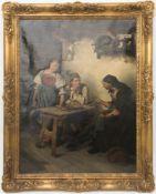Victor Sieger, Bäuerliche Küchenszene, Öl auf Leinwand, 19. Jh.Viktor Sieger (1843 - 1905).Unten