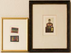 Zwei abstrakte Kompositionen auf Papier, 20. Jh.