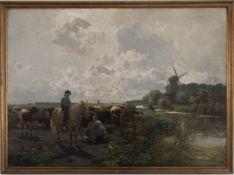 Hermann Baisch, Bauern mit Kühen in weiter Landschaft, Deutschland 1887.