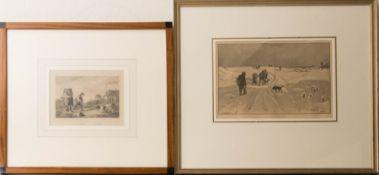 Zwei Landschaften mit Hunden und Männern, Lithografie, 19. Jh.