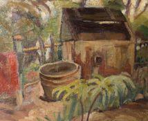 Wohl A. Güdminden-Holmeyer, Die Gartenlaube im Sommer, Öl auf Leinwand.