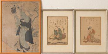 Drei Japanische Büttenzeichnungen.