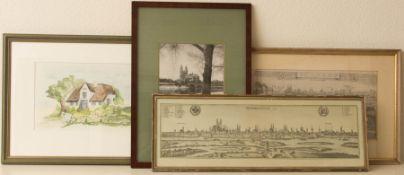 Konvolut von vier Bildern über Magdeburg, Fotografie / Radierung und Aquarell.