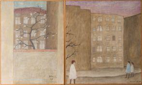 Irene Müller, Duo Der Stadtspaziergang, Aquarell auf Leinwand, 1969.