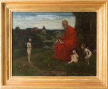 Geistlicher beim Studium, Öl auf Holz.
