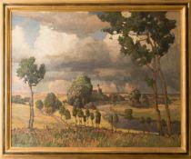 Richard Kaiser, Landschaftsansicht, Öl auf Leinwand.