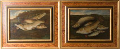 Paar Stillleben mit Fischen, Öl auf Leinwand, 19. Jh.