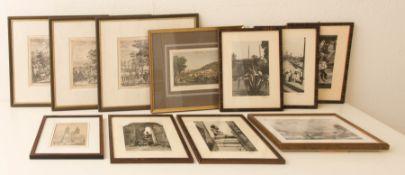 Konvolut von elf Drucken und Fotografien.