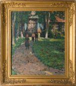 Otto Thiele, Impressionistischer Spaziergang, Öl auf Holz, 20. Jh.