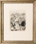 Jehuda Bacon, Abstrakte Komposition, Kohlezeichung auf Bütte.