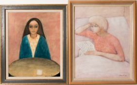 Irene Müller, Zwei Frauenportraits, Acryl auf Leinwand, 1969.