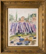Arnold Balwé, Lavendelfeld in Frankreich, Aquarell auf Bütte, 20. Jh.