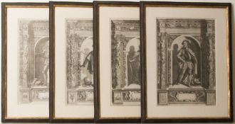 Vier Herrenportraits, Druckgrafik, 18. Jh.