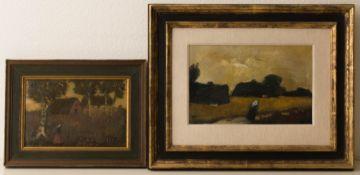 Andrea Schmitt, Zwei Landschaftsansichten, Öl auf Platte.