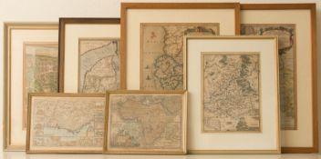 Sieben antike Landkarten, 17. / 18. Jh.