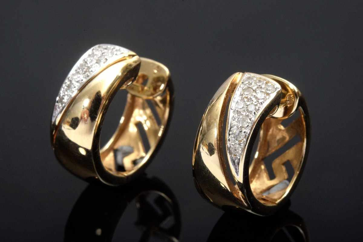 Lot 58 - Pair of Classical GG 585 Brillant Creoles (total approx. 0.20ct/SI/W), 5.8g, Ø 1.6cm<