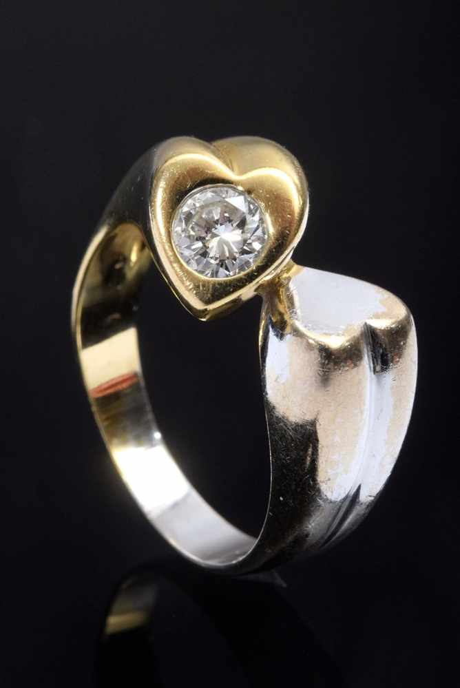 Lot 60 - Modern GG/WG 585 heart ring with diamond (approx. 0.22ct/SI/W), 5.5g, size 53