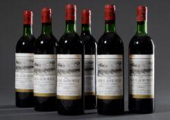 6 Flaschen 1982 Chateau Grand Moulin, Montagne St. Emilion, Gironde, Bordeaux Rotwein, 750ml, guter