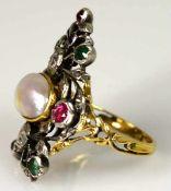 RING vegetabil gearbeitete Fassung mit 8 Farbsteinen, Rosendiamanten als Besatz von kleinen