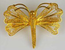 SCHMETTERLINGSBROSCHE filigran gearbeiteter, stilisierter Schmetterling mit durchbrochenen Flügeln