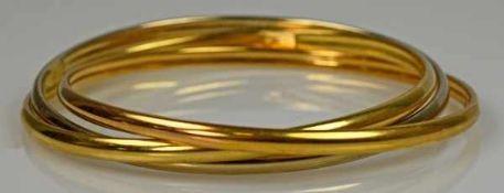 3 ARMREIFEN tricolor, als Ensemble verbunden, polierte gebogte Reifen in gelbgold mit Weiß- und
