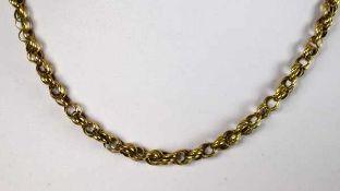 BIEDERMEIER-COLLIER gleichmässiges Band aus ineinander verbundenen Ringen, Gelbgold 14ct, Verschluss