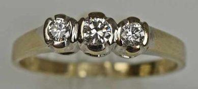 RING drei Diamanten in Weißgoldfassung 14ct, Gr. 59