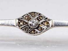 Stabnadel mit Altschliff-Diamant und Diamantrosen, Art Deco.