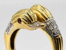 Ring mit 36 Achtkant-Diamanten, zusammen ca. 0,25 ct, 80- er Jahre.