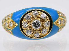Ring mit türkisfarbener Emaille und 29 kleinen Brillanten, zusammen ca. 0,55 ct, 20. Jh.
