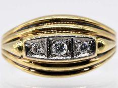 Ring mit 3 Brillanten, zusammen ca. 0,1 ct, 70-er Jahre.