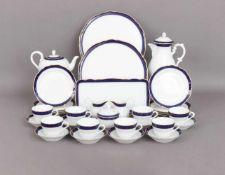 HUTSCHENREUTHER Tee-/Kaffeeservicekobaltblauer Rand mit Goldstaffage, bestehend aus 1 Tee- und