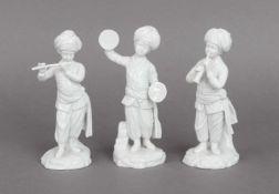 3 Hoechst Porzellanfiguren aus der ¨Türkenkapelle¨Entwurf Johann Peter Melchior, Weißporzellan