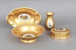 4 Teile ROSENTHAL Porzellan1920er Jahre, bestehend aus 1 Deckeldose, 1 Vase und 2 Schalen,