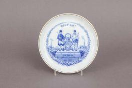 MEISSEN Andenkenteller ¨750 Jahre Bergstadt Freiberg 1188-1938¨um 1938, runde, glatte Form mit